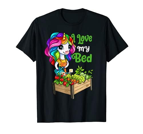 I Love My Bed Lit de jardin amusant avec licorne T-Shirt