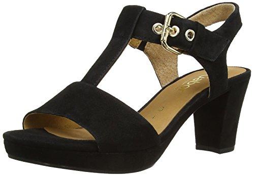 Gabor Shoes 22.394.47 Damen T-Spange Sandalen ,Schwarz (schw.(gold/AbsOBL)) ,37.5 EU
