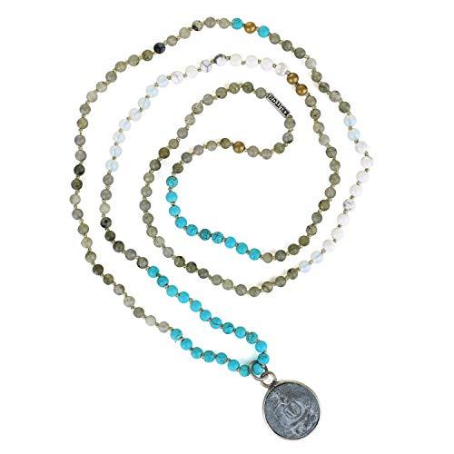 KELITCH Buddha Pendant Necklace for Women Men Sakyamuni Medal Lucky Long Strand Agate Beaded Necklace Handmade Knotted Fashion Gift