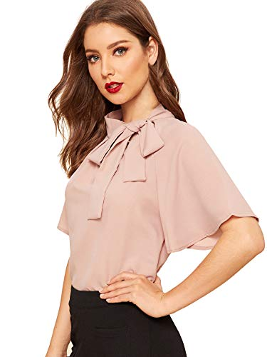 Side tie neck design at mock neck, lightweight and thin fabric, flutter sleeve, half sleeve, slim fit, retro solid chiffon blouse. This casual blouse is great for a vintage and elegant look with jeans, skirt, pants, high heels, etc. Occasion: Spring ...