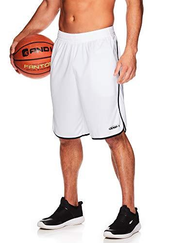 AND1 Herren Basketball Gym & Running Shorts mit elastischem Bund & Taschen – 30,5 cm Innennaht - Weiß - Groß