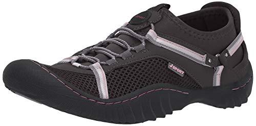 JSport by Jambu Women's Tahoe Max Sneaker, Charcoal/Pink, 7 M US