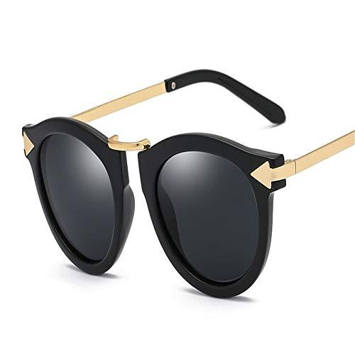 Wangqianli Polarizador Aolly Outdoor Seaside Sunscreen UV400 Arrowhead Gafas de Sol Hipster Tinted Sunglasses Retro (Color : Full Gray Black Frame)
