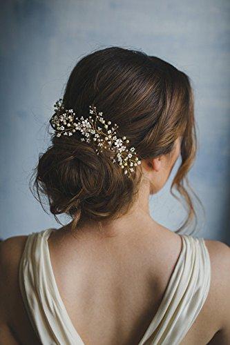 Kercisbeauty handgefertigtes Haarband mit kleinen weißen Blumen und Perlen im Vintage-Stil, für Braut oder Brautjungfern, Brautschmuck; Stil: Frühling, Rebe; Party-Accessoire