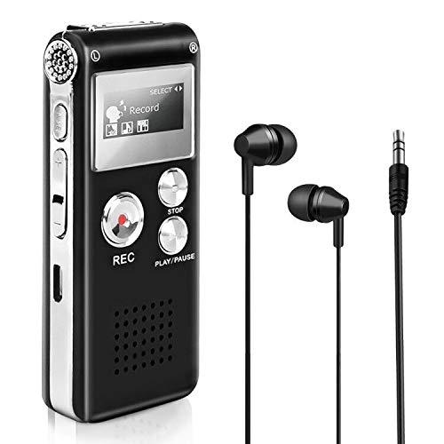 Maxjaa 8GB digitaler Sprachrekorder, wiederaufladbarer USB-Sprachrekorder mit MP3-Player und One-Touch-Aufnahme, multifunktionales tragbares Mini-Diktiergerät für Unterricht, Interviews (schwarz)