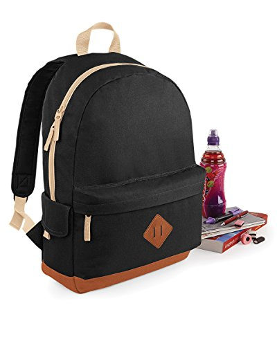 (ONE, Black) - BagBase Unisex Heritage Colours School Backpack Black,Blue,Red,Navy