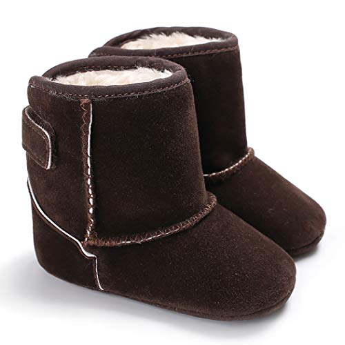 CINDEAR Infant Baby Boys Girls First Walker Shoes Suede Faux-Fur Lined Warm Winter Snow Boots for Newborn Baby Crib Shoes 1011 Dark Brown 12-18 Months