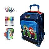 Mochila escolar Trolley Super Mario con seta versión Deluxe viaje azul + estuche 3 pisos completo + silbato de regalo + bolígrafo de colores
