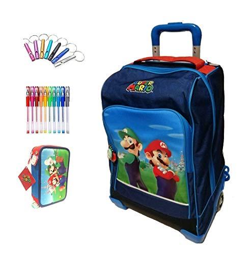 Schulrucksack Trolley Super Mario mit Pilz Version Deluxe blau + Federmäppchen 3 Etagen komplett + Pfeife + Gratis Farbstift