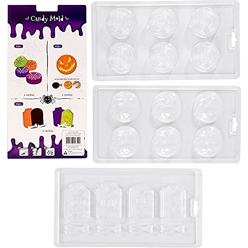 Spooky Central Halloween Chocolate Candy Molds, Jack-O-Lantern, Spider Web, Tombstone (Set of 3)
