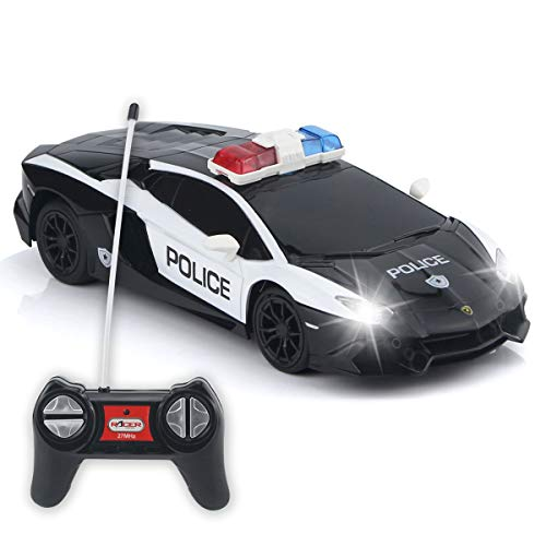 QUN FENG Remote Control Car Authorized by Lamborghini RC Police Car Electric Cop Car Toys for 6 Year...