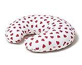 Niimo Cuscino allattamento Neonato + Federa 100% Cotone Sfoderabile e Lavabile con Zip a Scomparsa Facilita L'allattamento al seno o con il Biberon (Bianco-Cuori Rossi)