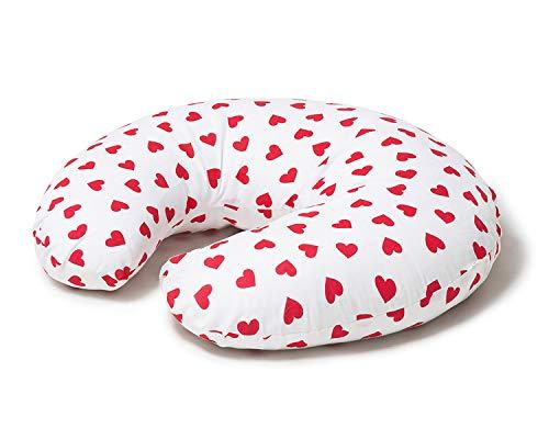 Niimo Cojin Lactancia Bebè Funda Cojin 100% Algodòn Extraíble y Lavable Almohada Multifuncional para Madre y Bebé Relleno de Fibra de Poliéster (Blanco - Corazón Rojo)