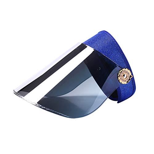 BESPORTBLE Chapéu de sol feminino com viseira de verão para atividades ao ar livre, portátil, proteção UV, proteção solar, capa para carro elétrico (azul escuro)