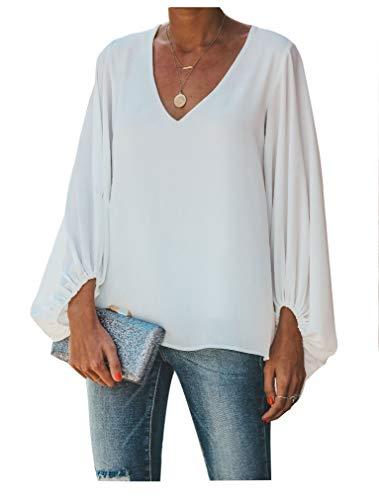 Botanmu Tamaño Extra Suelto de Mujer Camiseta de Manga Larga de Gasa Blusa de Manga Larga Blusas de Gasa Camiseta 4 Colores (Blanco)
