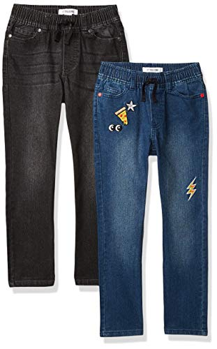 Spotted Zebra Boys' Stretch Denim Pants Jeans, 2-Pack Black/Patches, Small