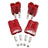 Batería Conector 50 A, conexión rápida, 50 A, 600 V, para coche, furgoneta, 4 unidades (kit 10/12 Awg, rojo)