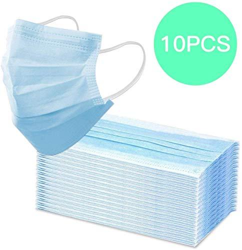 REALPACK 10 protectores quirúrgicos para la cara con bucles para los oídos, polvo médico, 3 capas, color azul
