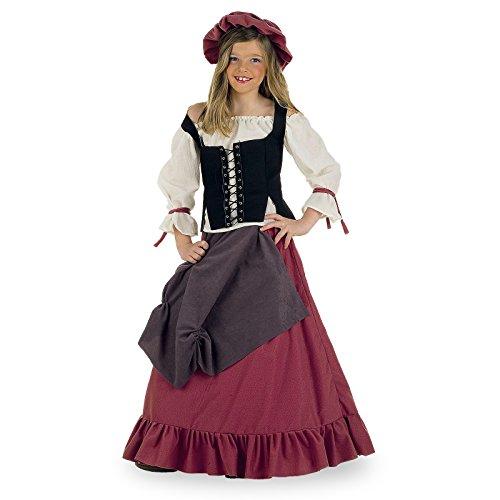 Limit Sport MI356 – Costume de villageoise (Style Moyen-âge) pour Enfant, 4 pièces (Corset, Robe, Haut, Chapeau)