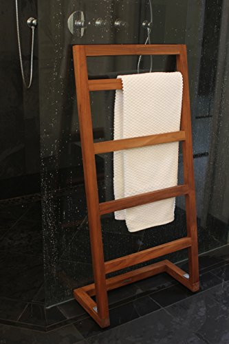 AquaTeak Patented Sula Angled Teak Towel Stand