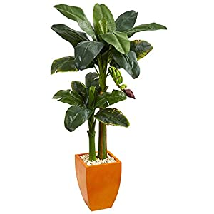 Nearly Natural Double Stalk Banana in Orange Planter, 5.5′