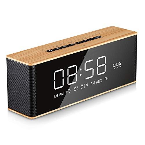 FPRW Digitale wekker met bluetooth-luidspreker, led-display, oproepherhaling, draadloos, modern, met spiegel-display, hout