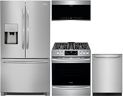 Frigidaire 4-Piece Stainless Steel Kitchen Package with FGHD2368TF 36  French Door Refrigerator, FGEF3036TF 30  Freestanding Electric Range, FGID2476SF 24  Fully Integrated Dishwasher and FGMV176NTF 30  Over-the-Range Microwave