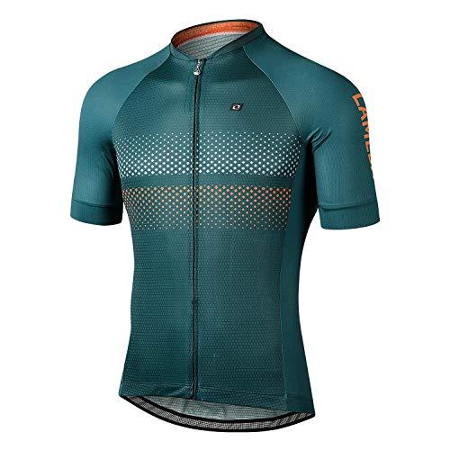 LAMEDA Maillot Ciclismo Hombre Verano Ropa Ciclista Hombre Poliéster 100% Transpirable (RY Verde-L