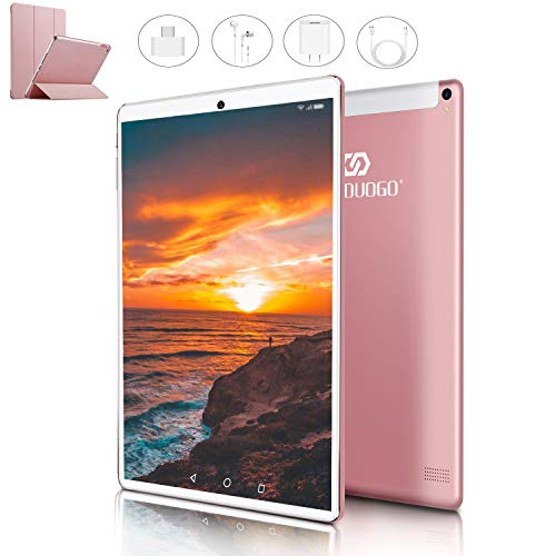 Tablet 10 Pollici con Wifi Offerte 4G Android 9.0 Certificato Google GMS Tablet PC 4GB RAM 64GB/128GB Espandibili 8500mAh Tablet in Offerta Dual SIM 8MP Fotocamera Tablet Android Bluetooth OTG(Rosa)