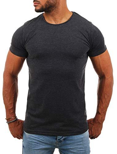 Young & Rich Herren Uni Basic T-Shirt mit Rundhals Ausschnitt einfarbig Round Neck Tee Stretch körperbetonte Dehnbare Passform, Grösse:L, Farbe:Dunkelgrau
