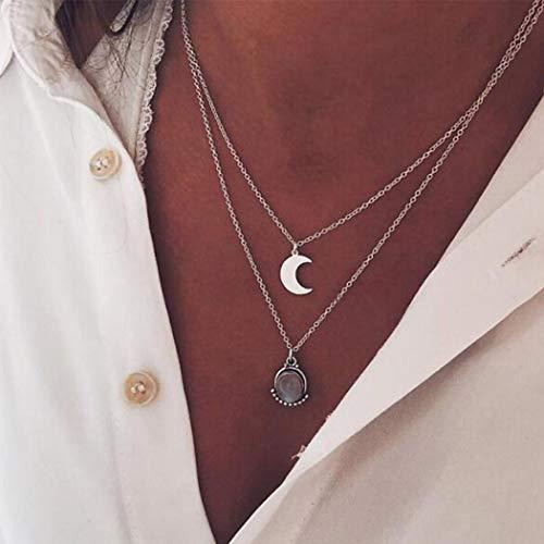 Ushiny, Collana girocollo mutifilo, stile boho e alla moda, con ciondolo a mezzaluna e cristallo, per donne e ragazze (argento)