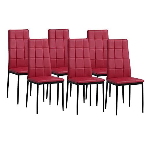Albatros Sedia per Sala da Pranzo Rimini, Set di 6 sedie, Rosso, SGS Testato