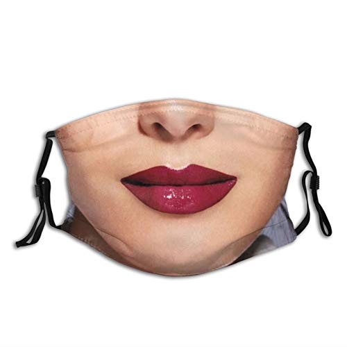 Washable Face Mask Turban Balaclava Adult Printed Funny Face Realistic Red Lipstick Mask Women Red Lips With Two Filters Custom Masks Custom Design Masks