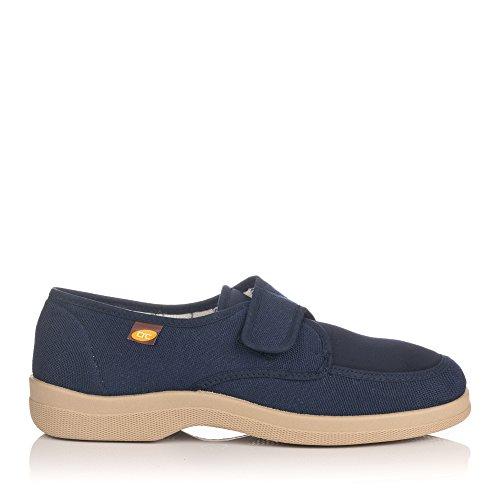 Zapatillas lona velcro para pies muy delicados Doctor Cutillas en azul marino talla 42