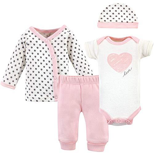 Touched by Nature - Conjunto de lencería Unisex para bebé, Pink/Gray Scribble 4 Piece Set, Prematuro