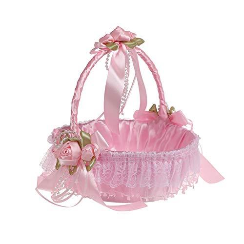 Blumenmädchen Korb - romantische Spitze Blumenkorb, Hochzeitskorb Ehe Prozessionen, niedliche Satinschleife, Empfangsdekoration, weiß, rosa und blau