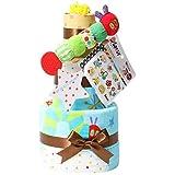 はらぺこあおむし おむつケーキ 出産祝い 名入れ刺繍 3段 Sassy ビタット Bitatto 身長計付き バスタオル ブルー 男の子 オムツケーキ ERIC CARLE エリックカール メリーズテープタイプMサイズ
