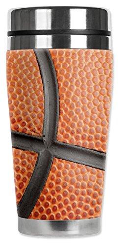Mugzie 894-MAX Basketball Closeup Stainless Steel Travel Mug with Insulated Wetsuit Cover, 20 oz, Orange by Mugzie