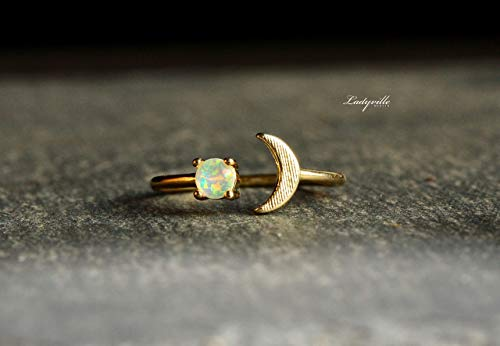 Himmlischer Mondphasen Ring mit Halbmond und Vollmond als Opal/Astrologie schmuck/Himmelskörper ring/mond ring/opal ring/halbmond