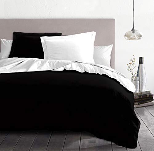 Home Passion 61198 Parure de Couette 3 Pièces Microfibre Noir/ Blanc 240 x 220