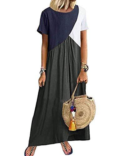 YOINS Maxikleider Damen Kurzarm Farbeblock Sommerkleid Kaftan Maxikleid Strandkleid Lang Damenkleider Bodenlanges Kleid Jersey Kleider Grau S