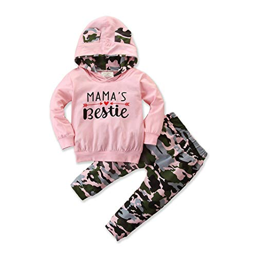 TFFR Newborn Baby Girl Clothes Mama's Bestie Bunny Hoodies Sweatshirts Camouflage Pants Outfits Toddler Girl Fall Winter Clothes (Pink, 12-18 Months)