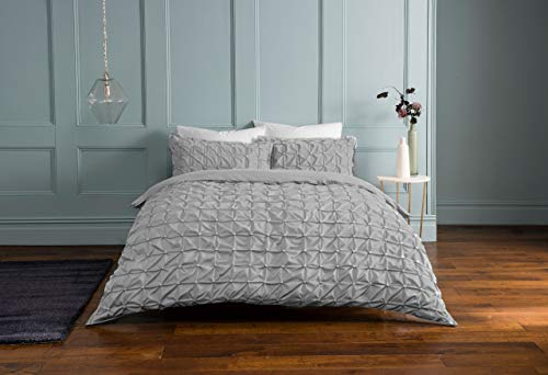 Sleepdown Rouched Pleats Bedding Duvet Set (Grey, Double Bedding) Duvet Set with Pillowcases