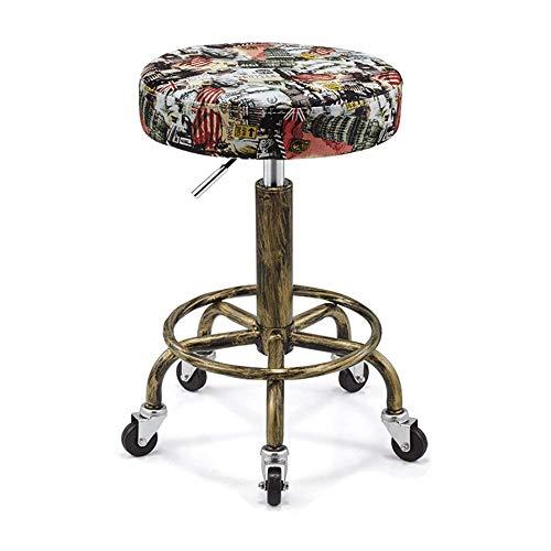 Rollstuhl Stuhl Everyday Home Vintage Explosionsgeschützte Schönheit Kann Rotierenden Pu-leder Druck Rollstuhl Schönheit Hocker Werkbank Heben hg/Sieben / T32cm