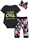 Baby Girls First Birthday Outfit Set Wild One Short Sleeve Bodysuit with Headband (6-12 Months,Black)