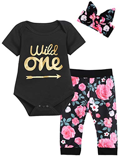 Baby Girls First Birthday Outfit Set Wild One Short Sleeve Bodysuit with Headband (12-18 Months, Black Short)