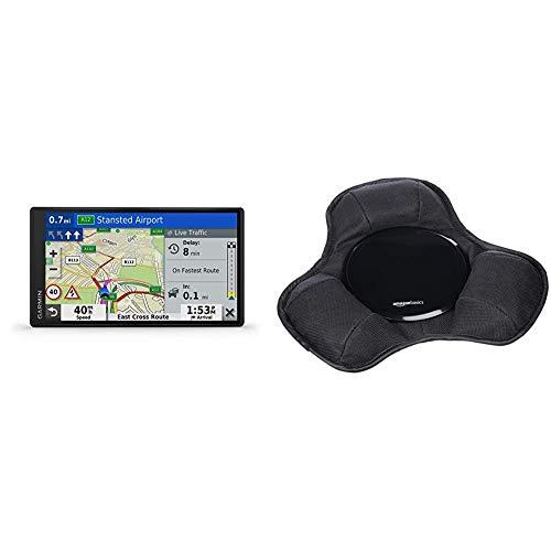 Garmin DriveSmart 55 MT-D EU Navi - Rahmenloses Touch-Display, 3D-Navigationskarten und Live-Traffic Via DAB+ & Amazon Basics - Armaturenbrett-Halterung