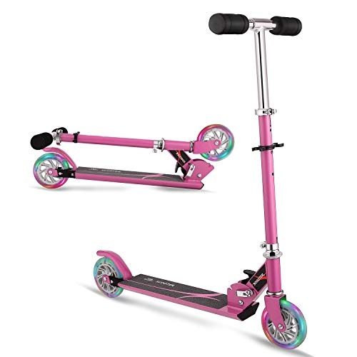 WeSkate Scooters for Kids, 2 Wheel Folding Scooter for Boys & Girls, Kick Scooter for Children 4 Years and up, with Light Up Wheels, 3 Adjustable Height