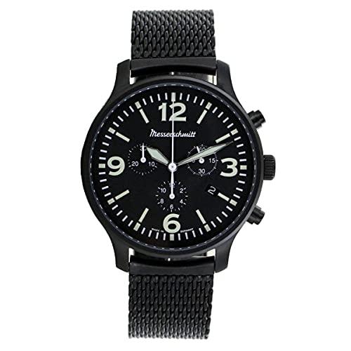 Messerschmitt Cronógrafo para hombre, correa milanesa   reloj de hombre   cuarzo   negro
