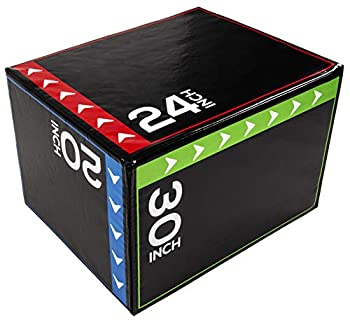 BalanceFrom 3 in 1 20 Inch 24 Inch 30 Inch Foam Plyometric Box Jumping Exercise  Regular 16 Pounds